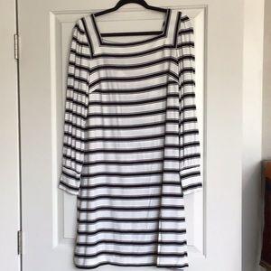 Black and white striped Square neck dress